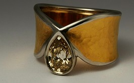 24ct gold, platinum and diamond ring 1403
