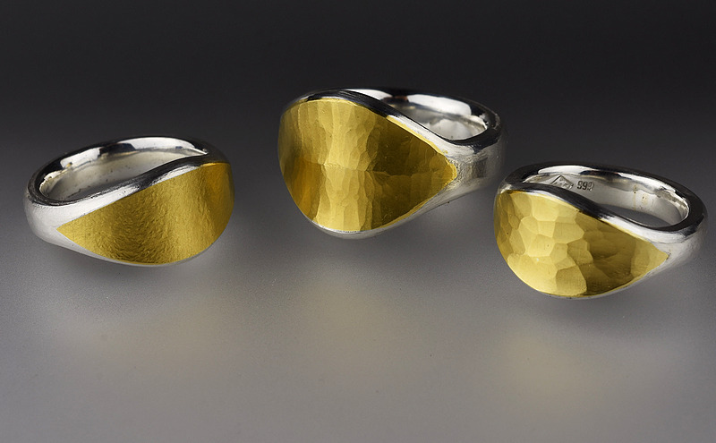 Pure silver and 24ct gold rings